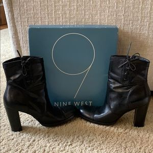 Nine Weat Black Leather booties. Size 8